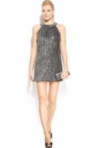 Alfani Petite Metallic Bubble-Hem Halter Dress $69.99