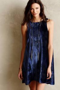Anthropologie Cerulean Velvet Dress $298