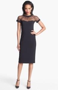 Maggy London Illusion Yoke Crepe Sheath Dress $148