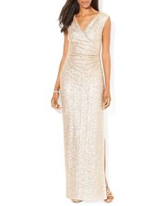 Lauren Ralph Lauren Petites Gown - Sequin Crossover Neck $280