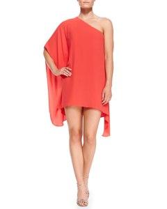 BCBGMAXAZRIA Alana Single-Sleeve Handkerchief Dress $118