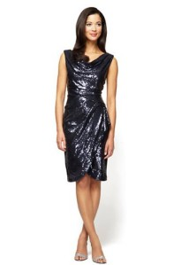 Alex Evenings Petite Sequined Pleated Drape Dress $118