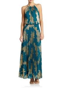 Xscape Petite Pleated Halter Top Maxi Dress $249